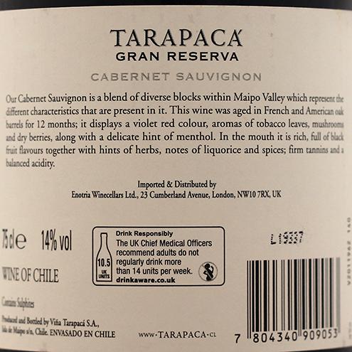 TARAPACA CABERNET SAUVIGNON GRAN RESERVA 2018